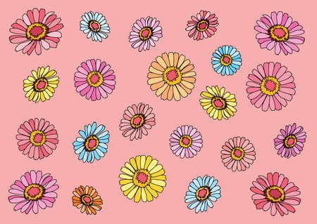 flower colorful on pink background illustration vector