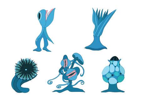 Carnivorous plants design blue on white background illustration vector