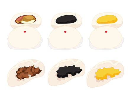 steamed stuff bun,dim sum and chinese cuisine on white background vector illustration Ilustrace