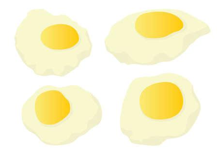 fried egg fresh from the farm on white background illustration vector