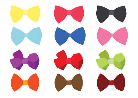 bow colour design and multicolored bow colorful on white background illustration vector