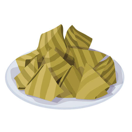 Khanom Sod-Sai thai name (Steamed Flour with Coconut Filling). Ancient Thailand dessert wrapped in banana leaves on white background illustration vector