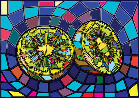 fruit kiwi and half moses Stained glass illustration vector Stock Illustratie