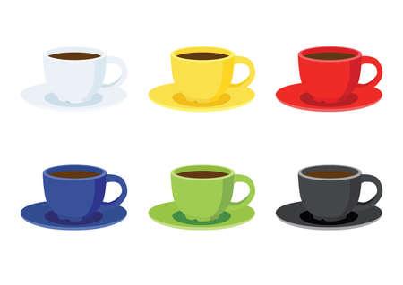 coffee cup on saucer on white background illustration vector Vektorové ilustrace