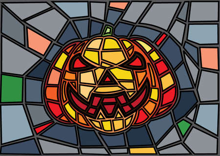 Halloween illustration vector decorative pumpkins stained glass style