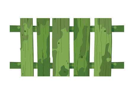 green wooden fence texture on white background illustration vector