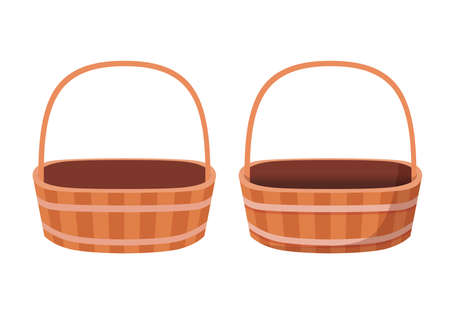 brown empty basket isolated on white background illustration vector Vetores