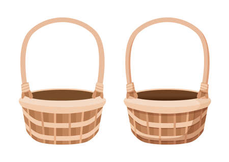 brown empty basket isolated on white background illustration vector Stock fotó - 155444832