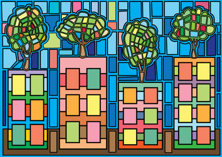 city moses stained glass illustration vector