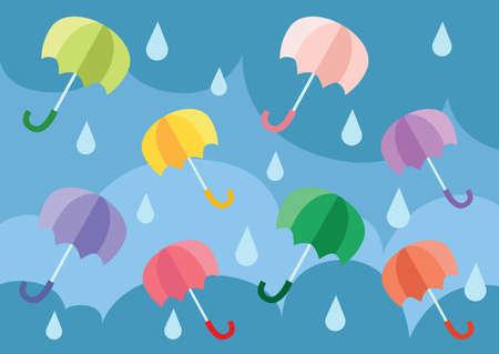 Umbrella floating in the sky illustration vector Illusztráció