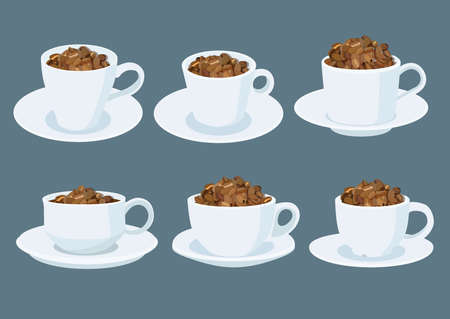 coffee beans in a white coffee cup on grey background illustration vector Illusztráció