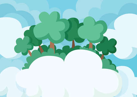 green tree in the cloud sky background