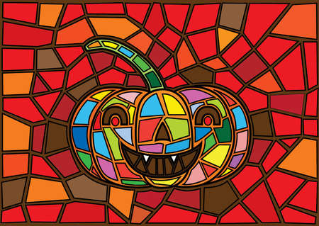 Halloween illustration Vector decorative pumpkins stained glass style moses