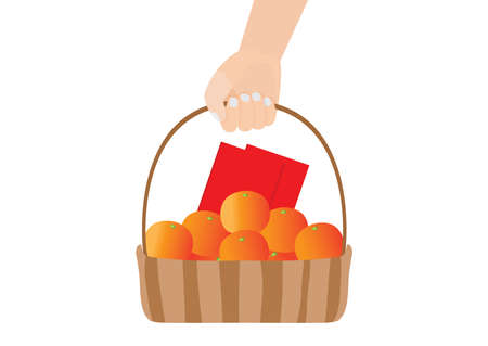 envelope red and orange fruit in the basket on white background illustration vector chinese new year or lunar new year concept.