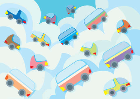 car running on the clouds sky background