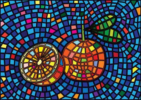 orange fruit design moses stained glass background illustration vector