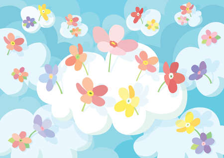 frower in the cloud sky background and colorful flowers
