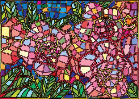 flower colorful stained glass background illustration vector Illusztráció