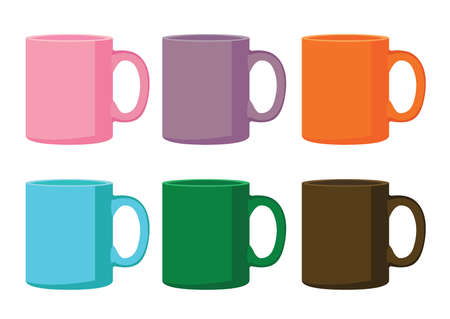 coffee cup multi color on white background illustration vector