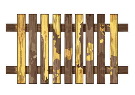brown yellow wooden fence texture on white background illustration vector