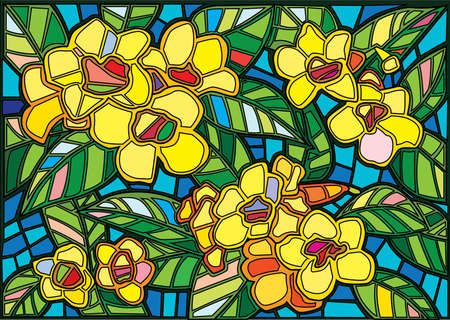fresh yellow flower stained glass background illustration vector