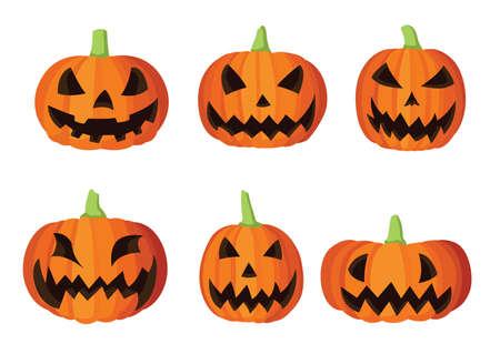 Pumpkin fruit and halloween face design on white background illustration vector