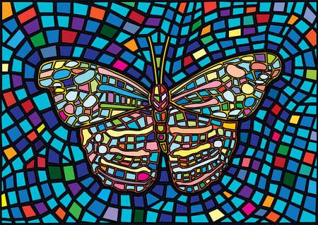 butterfly stained glass mosaic blur background illustration vector Illusztráció