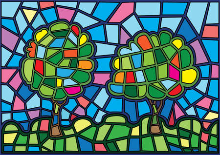 Tree moses Stained glass illustration vector