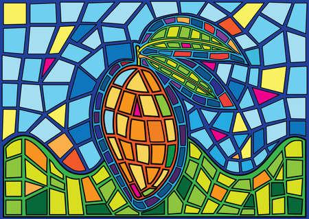 mango fruit moses Stained glass illustration vector Illusztráció