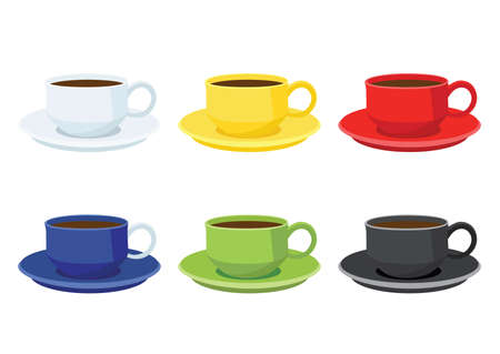 coffee cup on saucer multi color on white background illustration vector