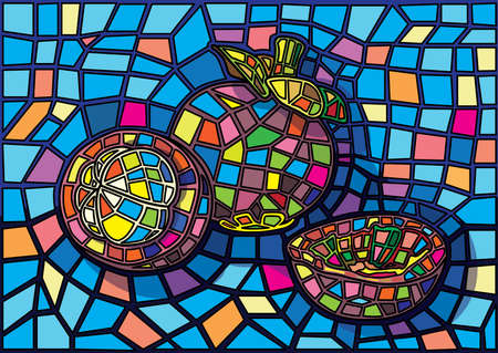 mangosteen fruit moses Stained glass illustration vector