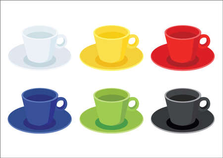 coffee cup on saucer on white background illustration vector Vecteurs