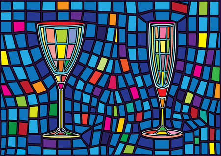 champagne glass and wine glass isolated stained glass background illustration vector Vettoriali
