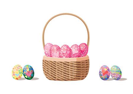 easter egg in the basket design colorful on white background illustration vector
