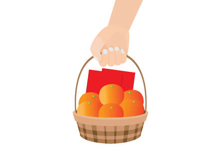 envelope red and orange fruit in the basket on white background illustration vector chinese new year or lunar new year concept. Vettoriali