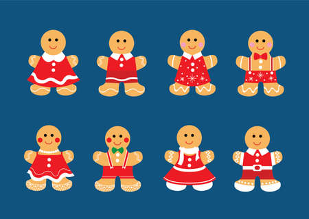 gingerbread cookie christmas set decorations and design isolated on blue background illustration vector