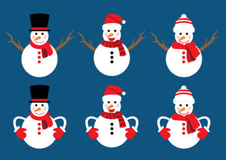 snowman christmas set decorations and design isolated on blue background illustration vector