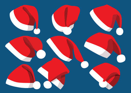 Hat santa christmas set decorations and design isolated on blue background illustration vector