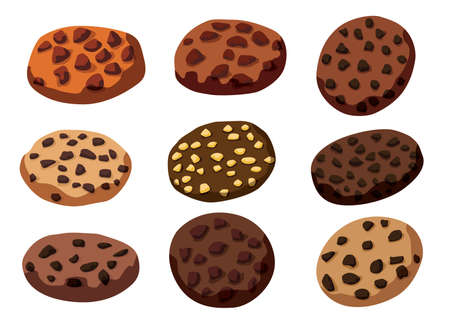 chocolate baked cookies on white background illustration vector