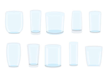 empty glass isolated on white background illustration vector Vettoriali