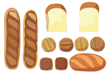 Delicious soft bread and bakery on white background illustration vector Vettoriali