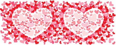 heart pink and red pattern design a white background illustration Vector Vettoriali