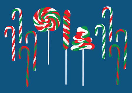 candy candies lollipops and taffy colorful christmas and isolated design on blue background illustration vector Vettoriali