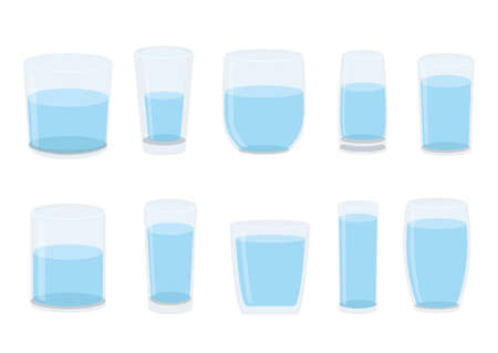 water in the glass isolated on white background illustration vec Vettoriali