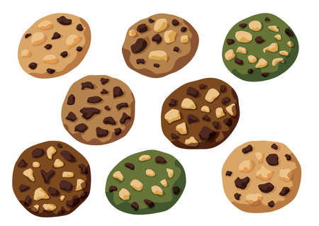 baked cookies chocolate and green tea,vanilla,coffee on white background illustration vector