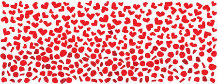 hearts and red rose petals pattern design on a white background vector illustration