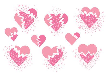 broken heart pink isolated on white background design illustration vector