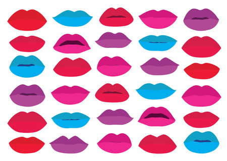 mouth Lips close up design element isolated collection stylish colorful different shades of lipstick beauty make up expressing different emotions art paint on white background illustration vector Vector Illustration