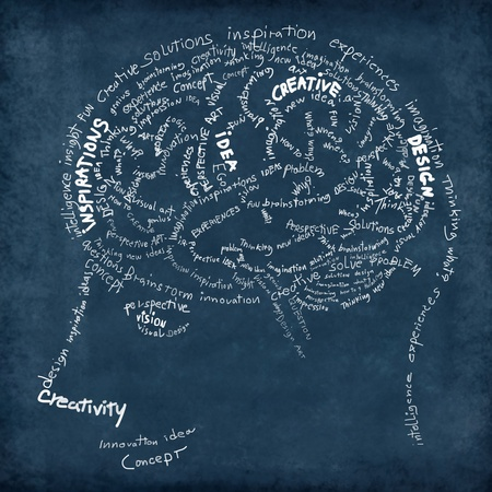 Brain drawing on chalkboard ,idea and creative concept photo