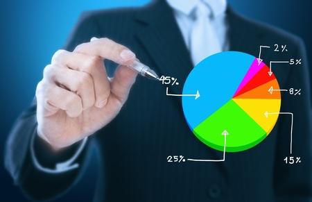 company profile:  businessman writing graph of stock market  Stock Photo